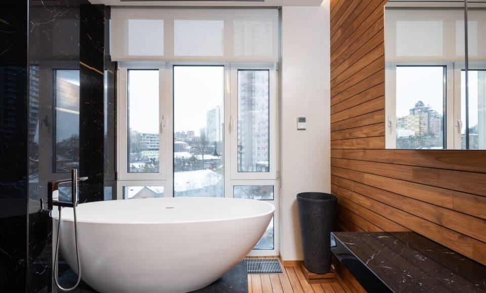 modern bathroom interior with panoramic window